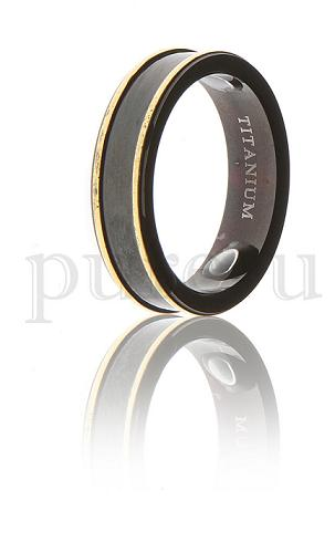 Black & Gold Titanium Magnetic Ring
